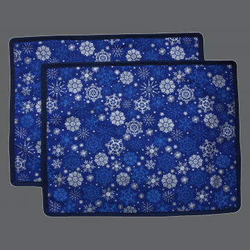 Winter Placemat - Set of 2 - Silver Snowflakes on Blue