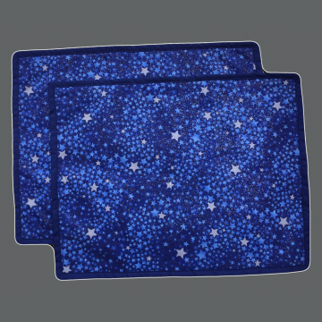 Winter Placemat - Set of 2 - Sparkle Stars on Blue