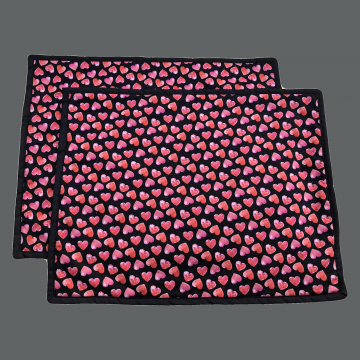 Valentines Placemat - Set of 2 - Red Hearts on Black