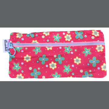 Flowers on Pink Pencil Pouch