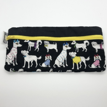 Dogs on Black Pencil Pouch