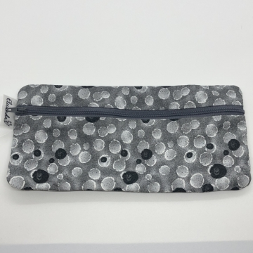 Gray Glitter Dots Pencil Pouch