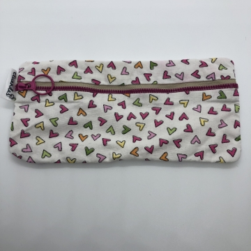 Hearts on White Pencil Pouch