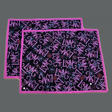 Valentines Placemat - Set of 2 - Pink Love on Black