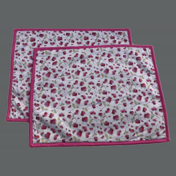 Valentines Placemat - Set of 2 - Roses and Hearts on White